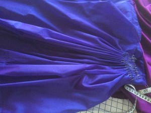 Detail of back pleats, pinned for sewing