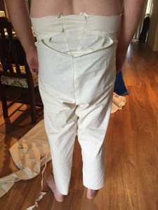 The back of the first mock up of the breeches. Made according to size 38 as given in the measurements, but a size 42 waistband.