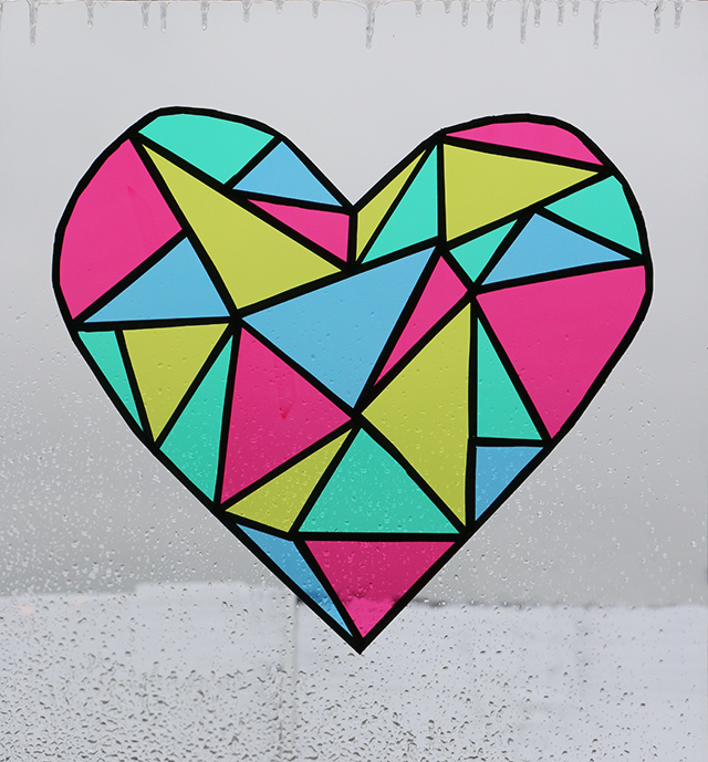 Faux Stained Glass Heart