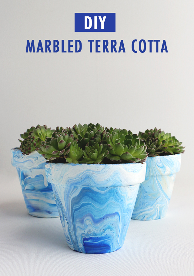 Diy marbled terra cotta pots alana jones mann for Clay pot painting techniques