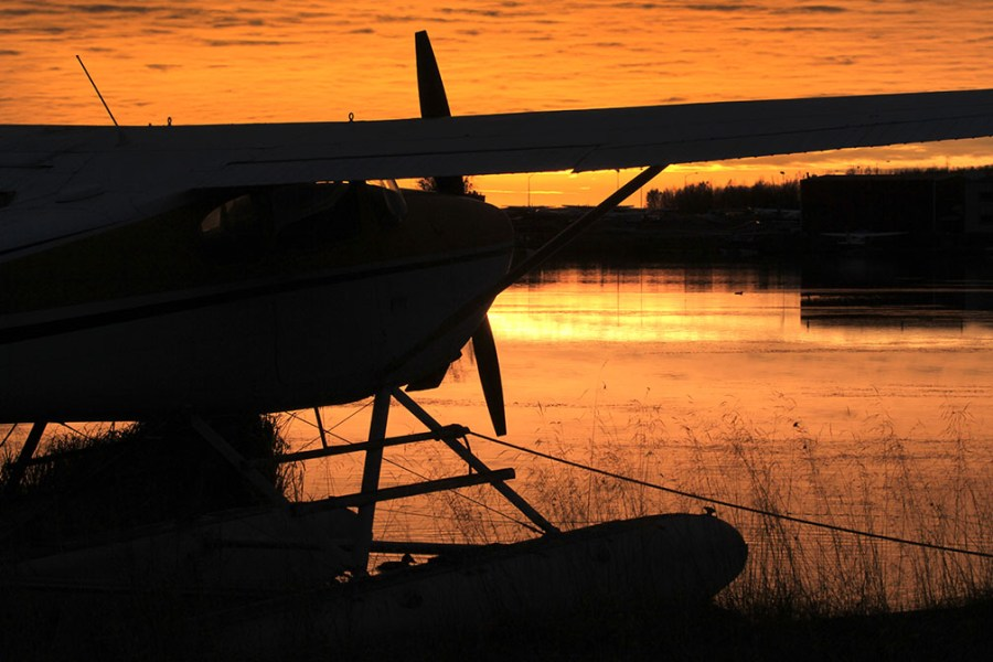 Cessna 180 on the PALH at  sunset.