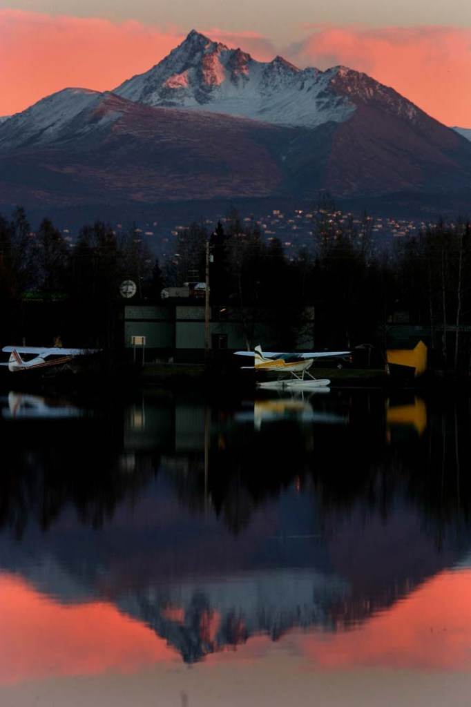 Dusk colors at Lake Hood sea plane base.