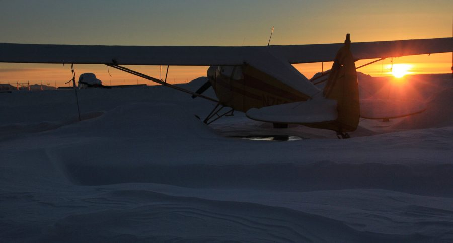 A wintertime image of an aircraft in December at Merrill Field (PAMR/MRI), Anchorage Alaska. Photo by Rob Stapleton/Alaskafoto