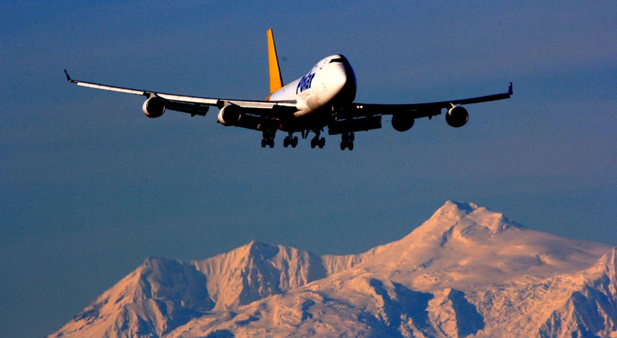 Atlas DHL 747 landing at Ted Stevens Anchorage International Airport