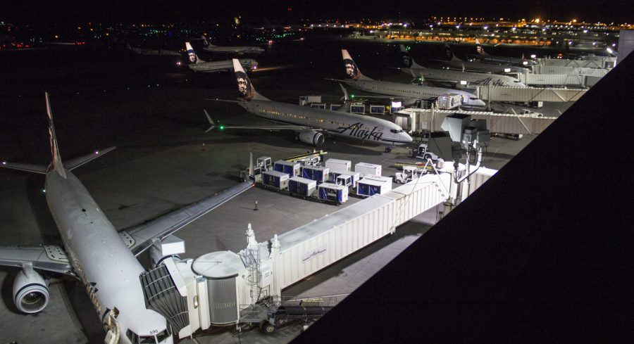 """Boeing 737s at the """"C"""" terminal gates at night. Photo by Rob Stapleton"""
