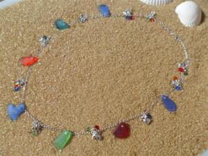 Multi-coloured Seas Glass Direct to Chain