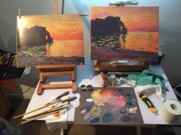 Naschilderen van een werk van Monet.