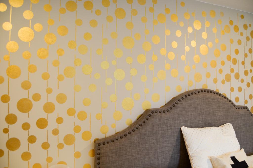 Golden Stenciled Bedroom Wall