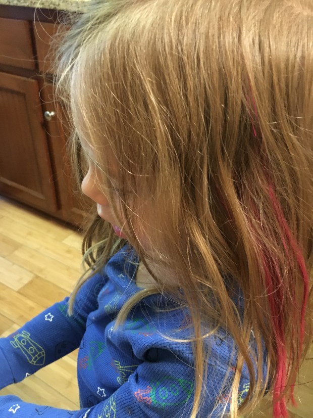 We still have pink the next day. Wonder what she will do when it washes out?