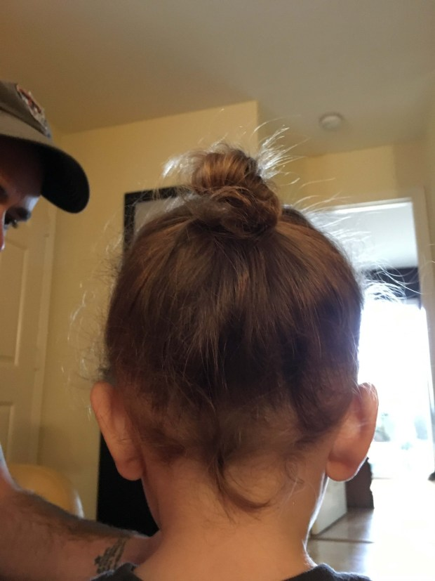 toddler boy-bun, a hipster in the making