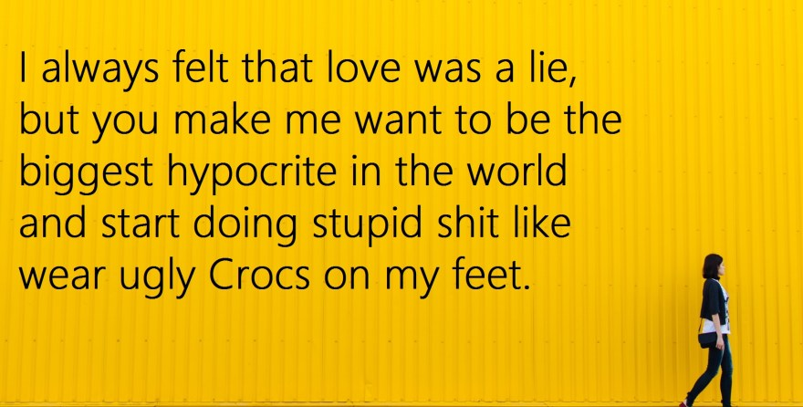 different valentine's day card love is a lie crocs