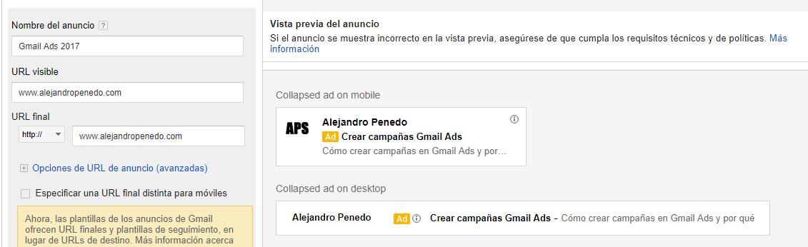 Como crear campaña gmail ads paso 7