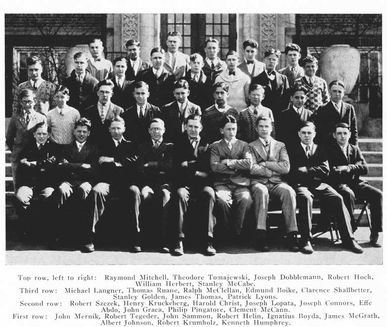 DeLaSalle, 1928 - Stanley, 2nd row from the top, wearing a white sweater and bow tie.