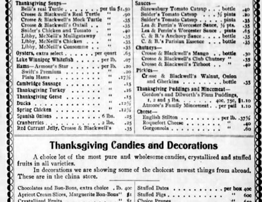 The Winnipeg Tribune 1901 • The Hudson's Bay Company Thanksgiving Meal Ideas