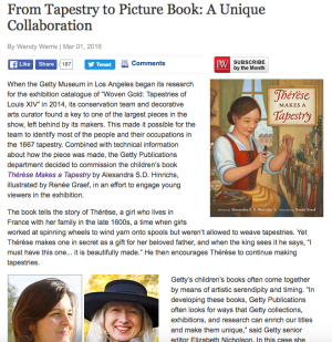 photo of Publishers Weekly Article on Thérèse Makes a Tapestry