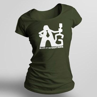 t-shirt femme kaki recto seul