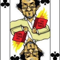 Card-i-cature a week... Week 25 - Salman Rushdie (the 6 of Clubs)
