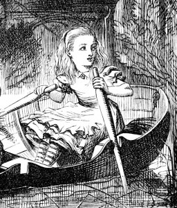 Alice in Wonderland Rows a Boat