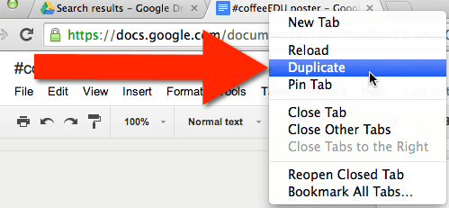 duplicate Chrome Tab