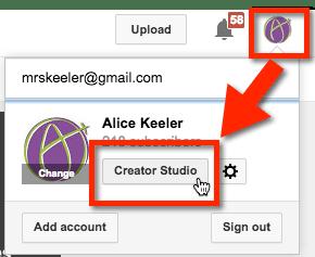 Alice Keeler YouTube Creative Studio Video Manager