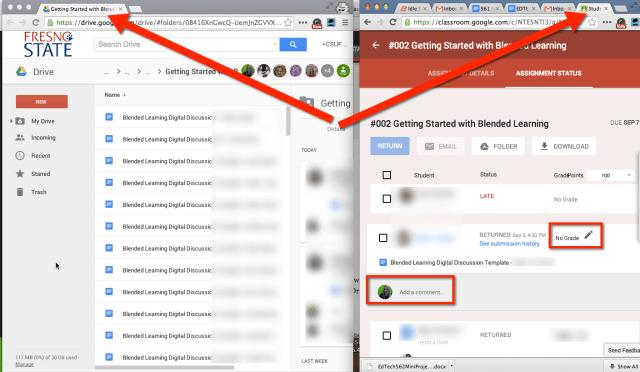Google Classroom 2 tabs