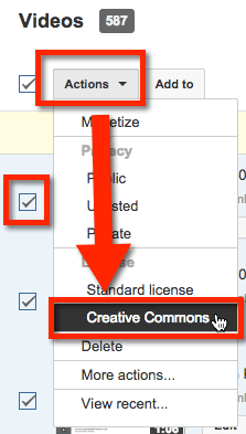 youtube check actions creative commons