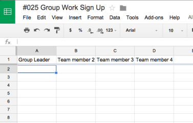 Google Sheets group work sign up