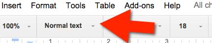 google docs normal font style