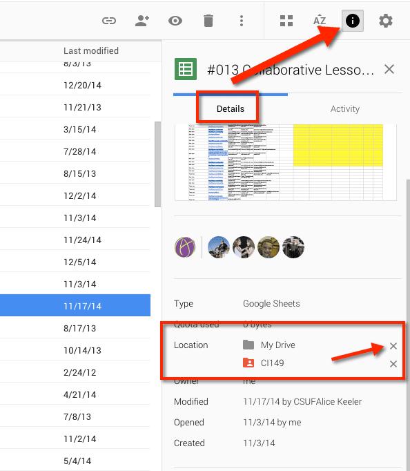 Google Drive Info Pane