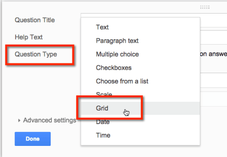 question type grid google forms