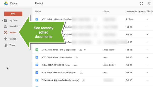 Google Classroom recently edited