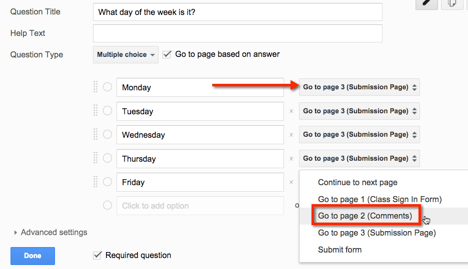 google forms go to page based on answer