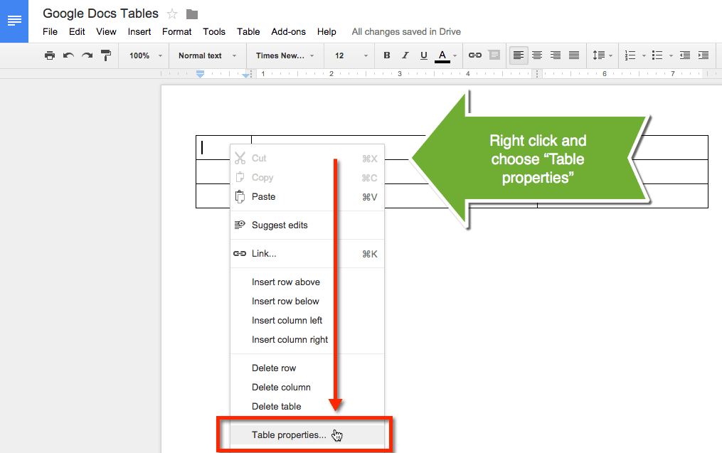 5 ways to make professional looking google documents for Table properties