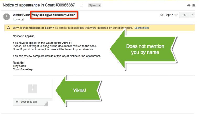 court secretary spam