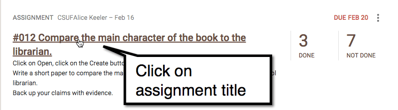 Google Classroom click on assignment title