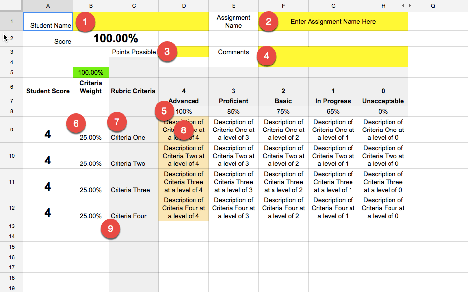Google Classroom Using RubricTab to Assess Students Teacher Tech – Blank Rubric Template