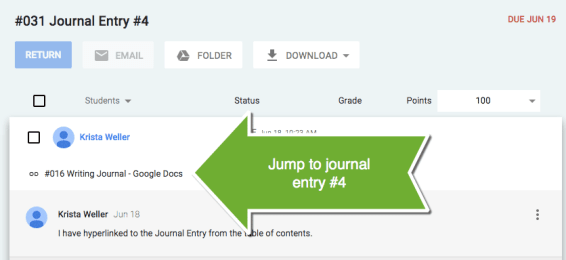 Jump to student hyperlink