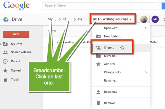Google Drive Breadcrumbs click on last one