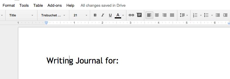 Writing Journal Title