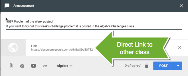 Link to other Google Classroom Class
