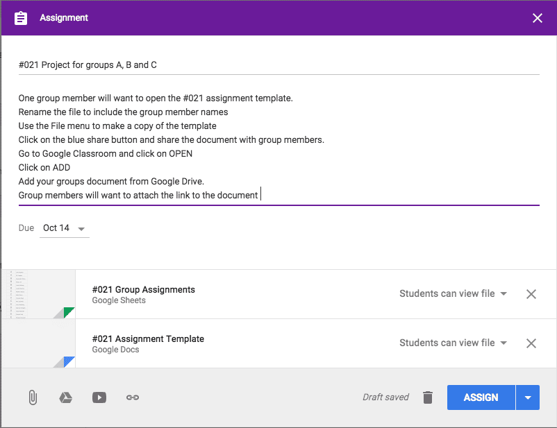Google Classroom add as can view