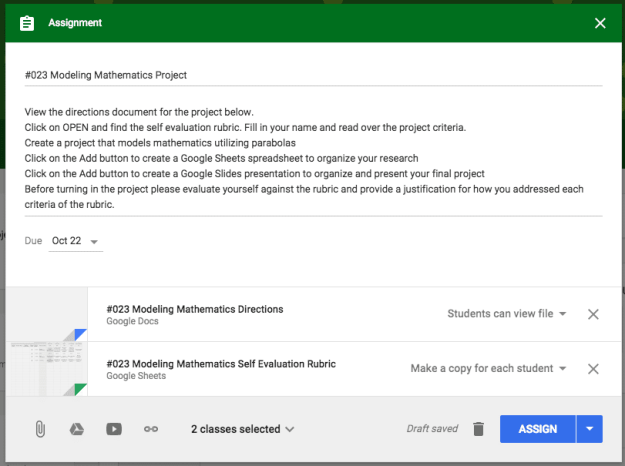 Google Classroom attach rubric