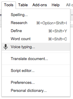 tools menu voice typing