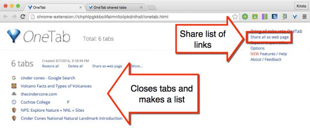 OneTab share the list of links