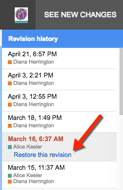 google docs revision history click on a revision
