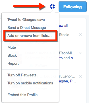 Add or remove from lists