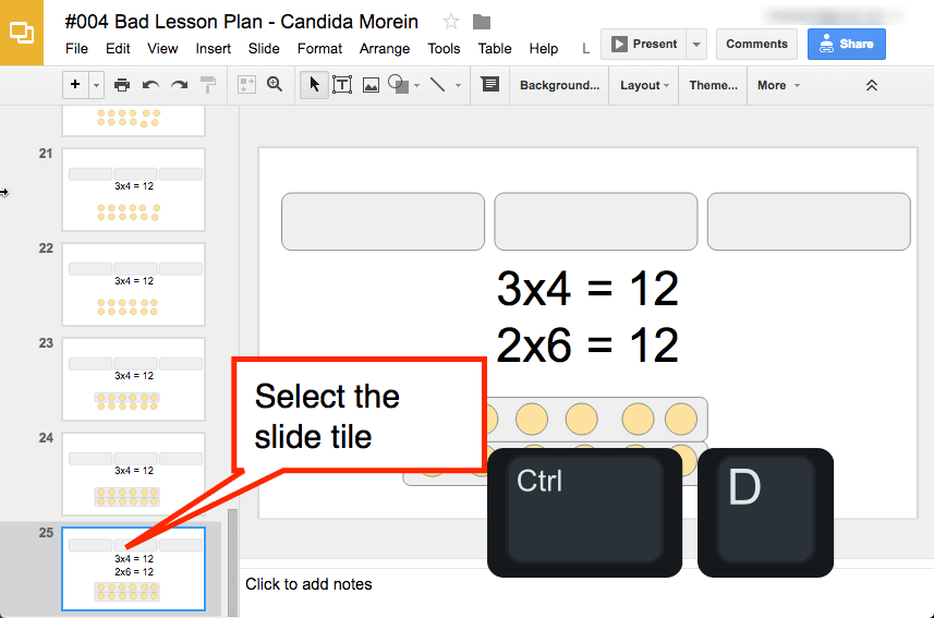 Select slide tile in Google Slides
