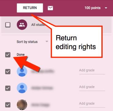 return editing rights google classroom