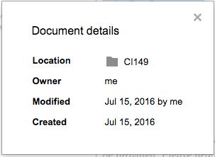 document details Google Docs