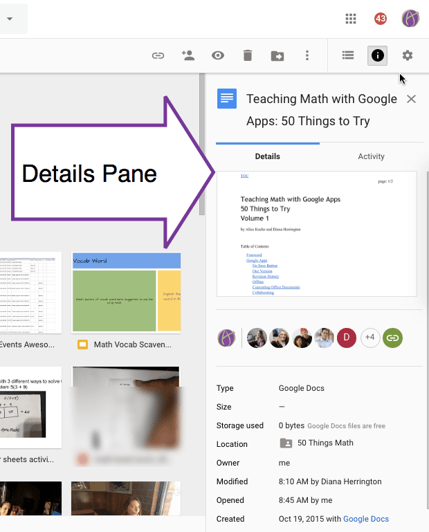 Details Pane in Google Drive